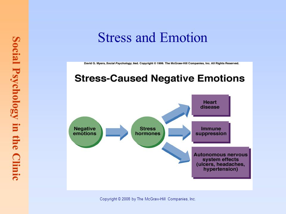 Social Psychology in the Clinic Copyright © 2008 by The McGraw-Hill Companies, Inc. Stress and Emotion