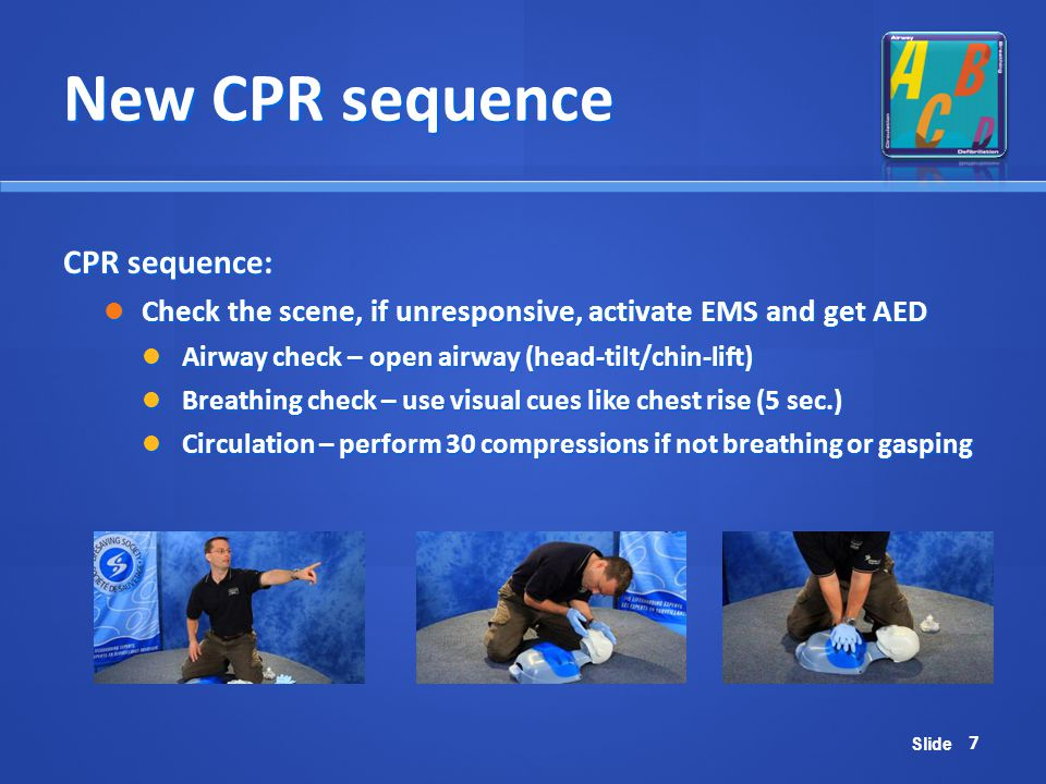 Slide New CPR sequence CPR sequence: Check the scene, if unresponsive, activate EMS and get AED Check the scene, if unresponsive, activate EMS and get