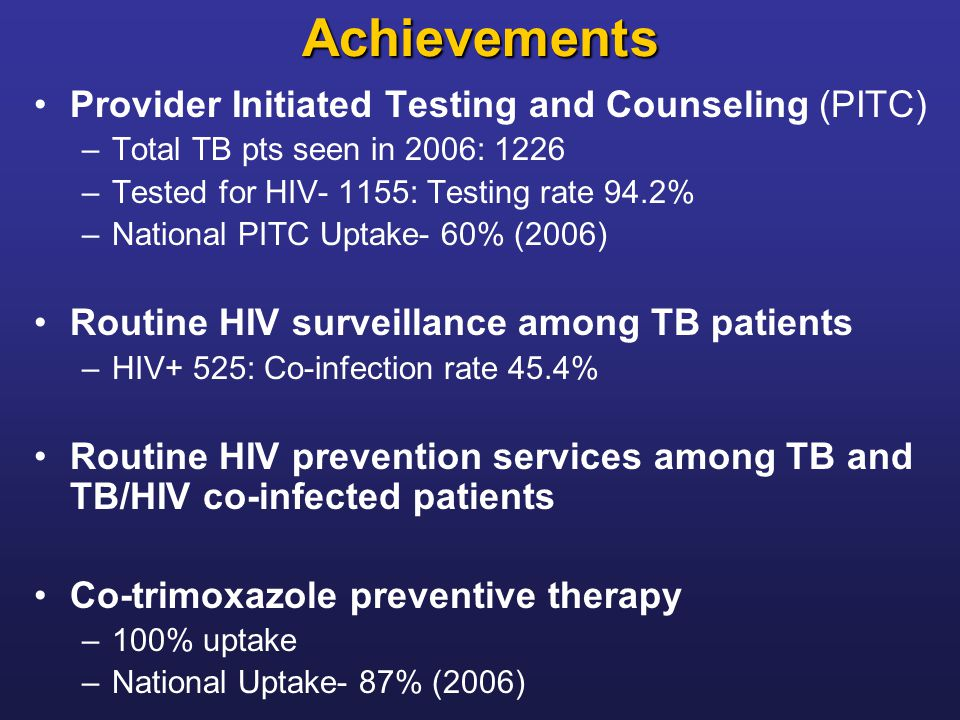 Achievements Provider Initiated Testing and Counseling (PITC) –Total TB pts seen in 2006: 1226 –Tested for HIV- 1155: Testing rate 94.2% –National PIT