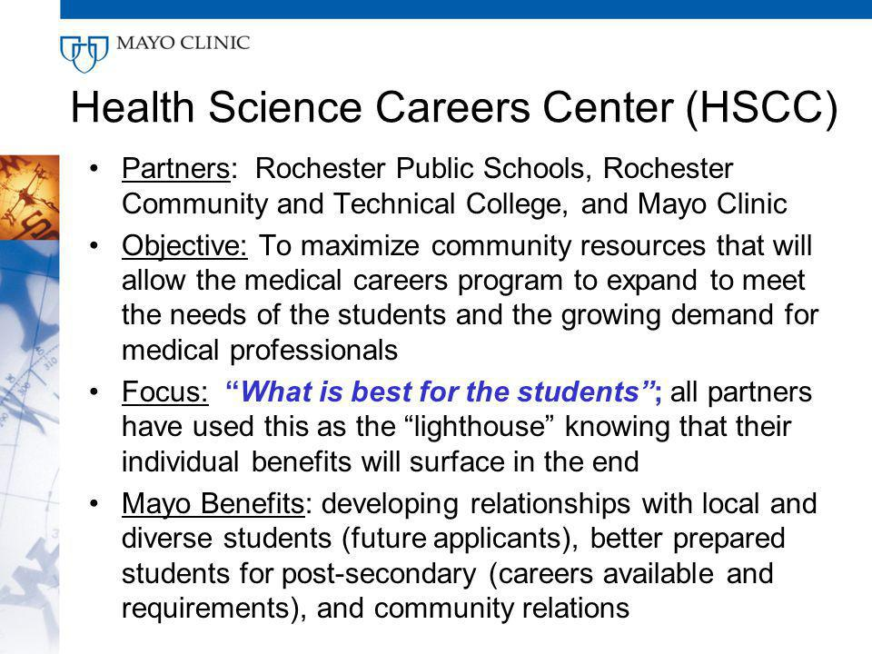 Health Science Careers Center (HSCC) Partners: Rochester Public Schools, Rochester Community and Technical College, and Mayo Clinic Objective: To maximize community resources that will allow the medical careers program to expand to meet the needs of the students and the growing demand for medical professionals Focus: What is best for the students; all partners have used this as the lighthouse knowing that their individual benefits will surface in the end Mayo Benefits: developing relationships with local and diverse students (future applicants), better prepared students for post-secondary (careers available and requirements), and community relations
