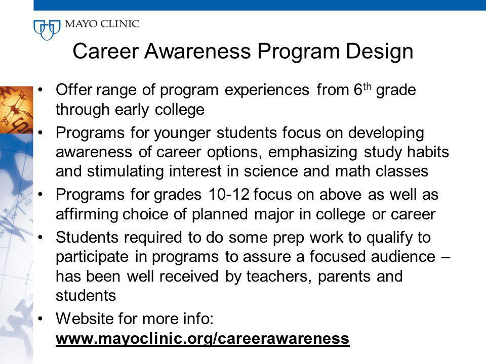 Career Awareness Program Design Offer range of program experiences from 6 th grade through early college Programs for younger students focus on developing awareness of career options, emphasizing study habits and stimulating interest in science and math classes Programs for grades 10-12 focus on above as well as affirming choice of planned major in college or career Students required to do some prep work to qualify to participate in programs to assure a focused audience – has been well received by teachers, parents and students Website for more info: www.mayoclinic.org/careerawareness