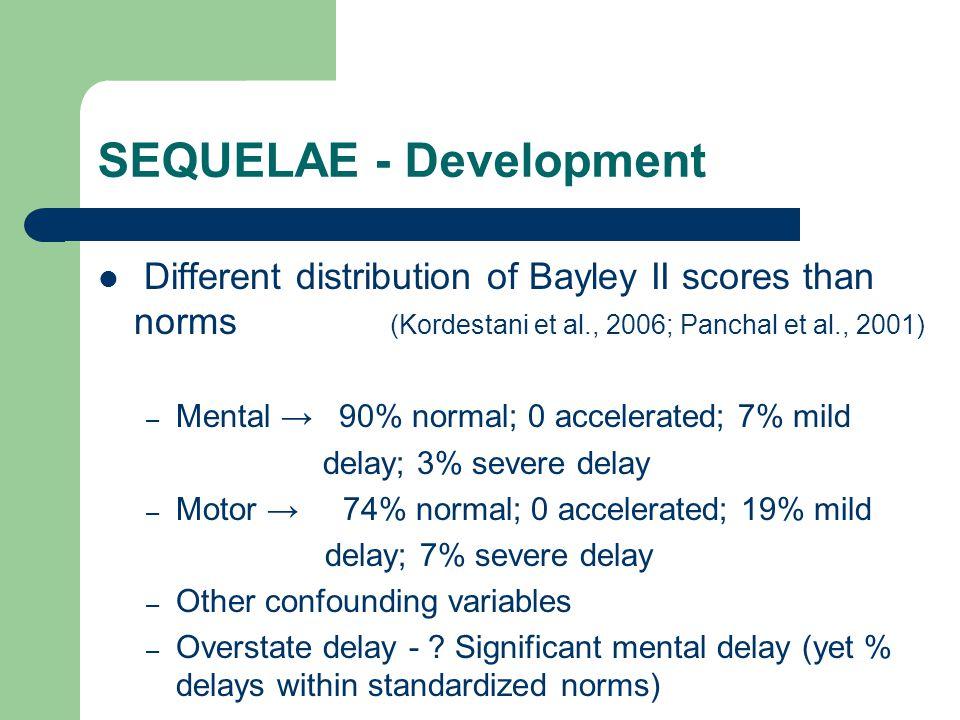 SEQUELAE - Development Different distribution of Bayley II scores than norms (Kordestani et al., 2006; Panchal et al., 2001) – Mental 90% normal; 0 ac