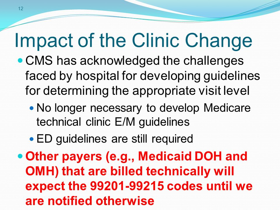 12 Impact of the Clinic Change CMS has acknowledged the challenges faced by hospital for developing guidelines for determining the appropriate visit l