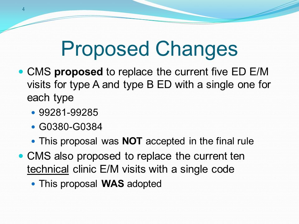 5 ED E/M Proposal CMS did not adopt a single G code for reporting ED E/M Commenters felt the range of services provided in the ED varies too significantly to reduce all visits to the single level CMS decided to not make any changes They are continuing to investigate No change to the codes No change to split billing No change to requirements for technical E/M guidelines for the ED