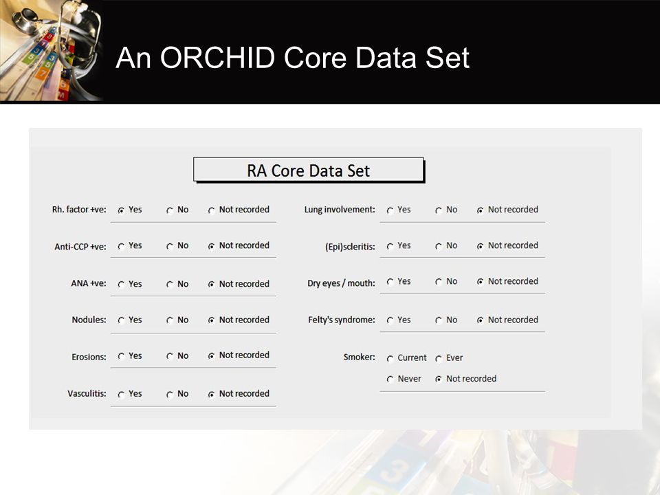 An ORCHID Core Data Set