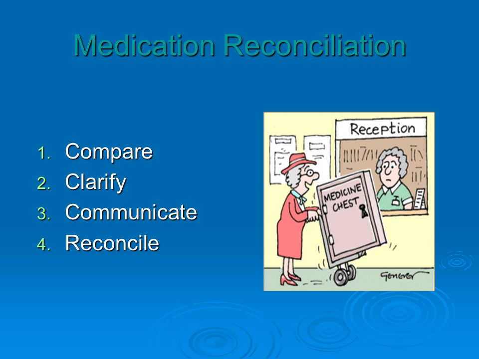 Medication Reconciliation 1. Compare 2. Clarify 3. Communicate 4. Reconcile