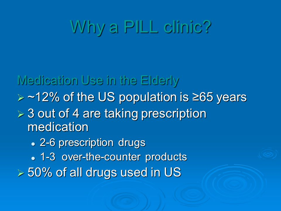 Why a PILL clinic? Medication Use in the Elderly ~12% of the US population is 65 years ~12% of the US population is 65 years 3 out of 4 are taking pre