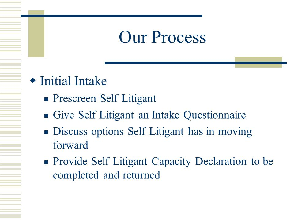 Our Process Initial Intake Prescreen Self Litigant Give Self Litigant an Intake Questionnaire Discuss options Self Litigant has in moving forward Provide Self Litigant Capacity Declaration to be completed and returned