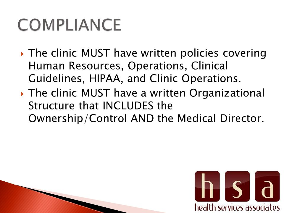 The clinic MUST have written policies covering Human Resources, Operations, Clinical Guidelines, HIPAA, and Clinic Operations.