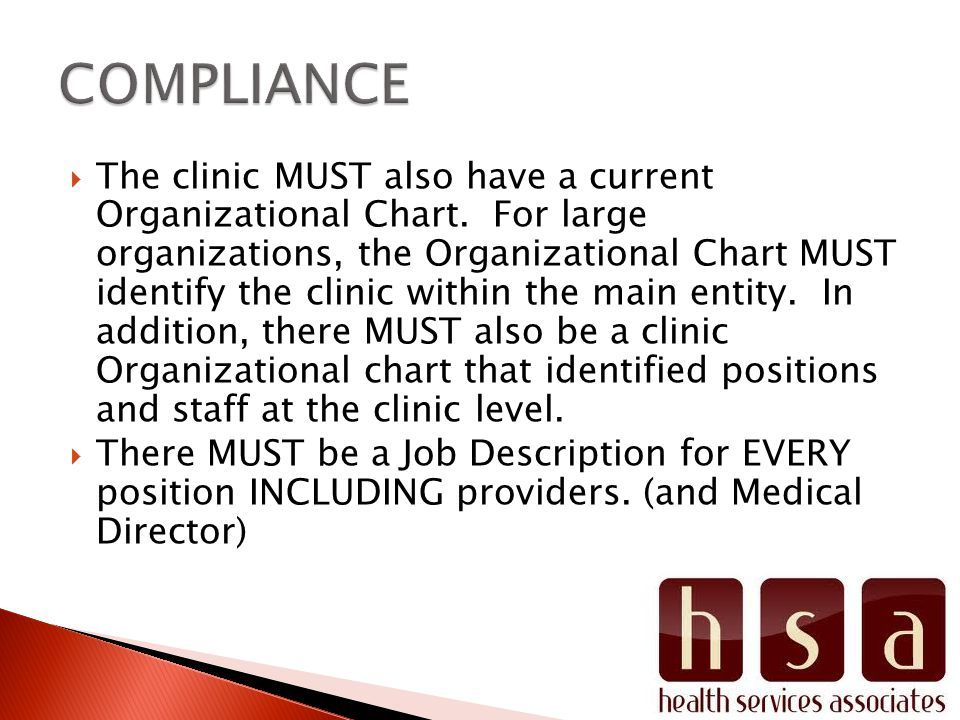 The clinic MUST also have a current Organizational Chart.