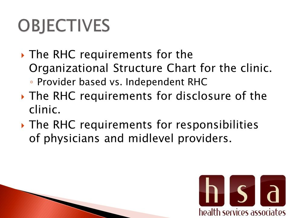 The RHC requirements for the Organizational Structure Chart for the clinic. Provider based vs. Independent RHC The RHC requirements for disclosure of