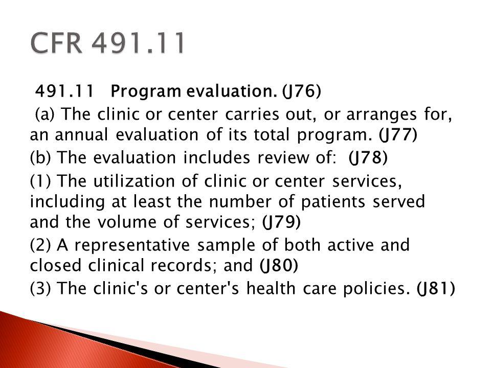 491.11 Program evaluation.