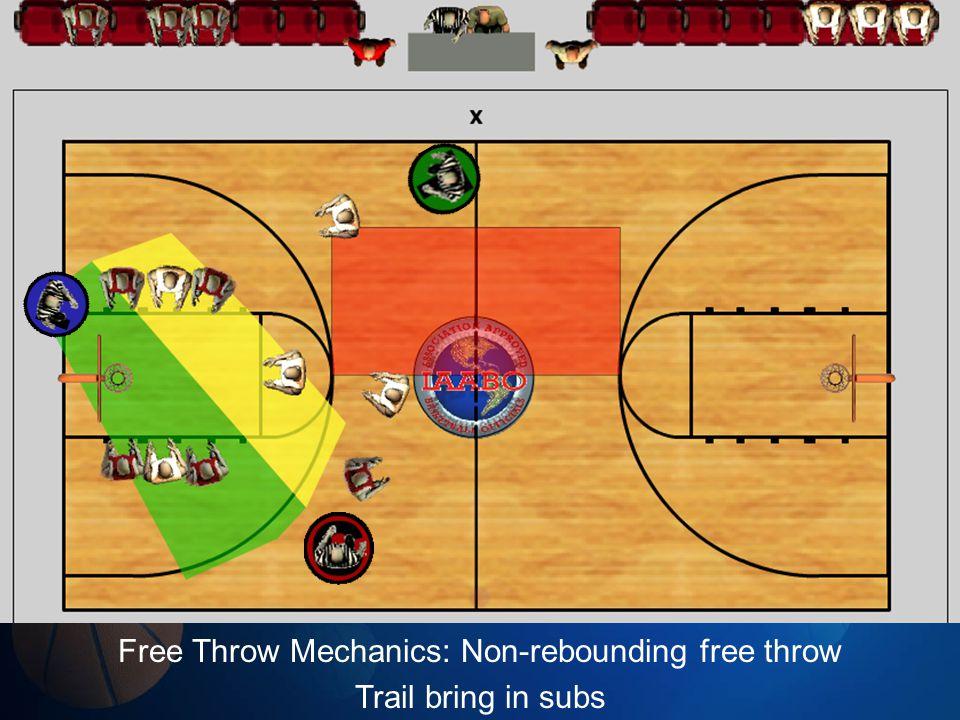 Free Throw Mechanics: Non-rebounding free throw Trail bring in subs