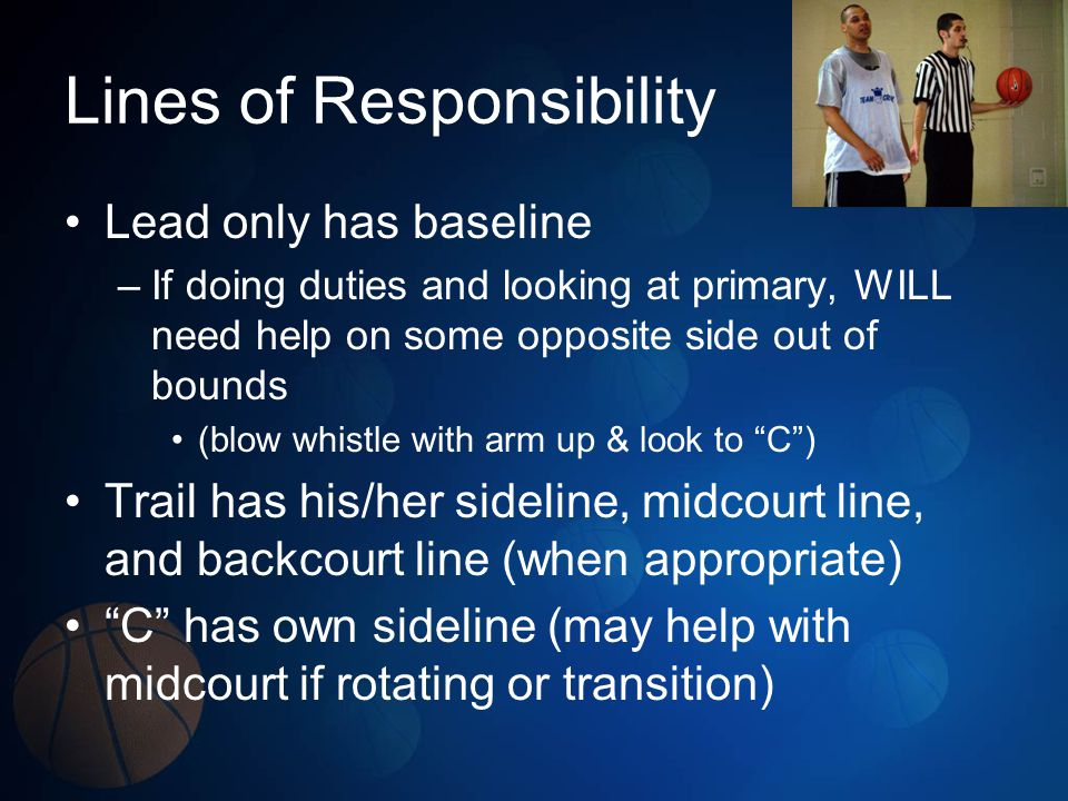 Lines of Responsibility Lead only has baseline –If doing duties and looking at primary, WILL need help on some opposite side out of bounds (blow whistle with arm up & look to C) Trail has his/her sideline, midcourt line, and backcourt line (when appropriate) C has own sideline (may help with midcourt if rotating or transition)