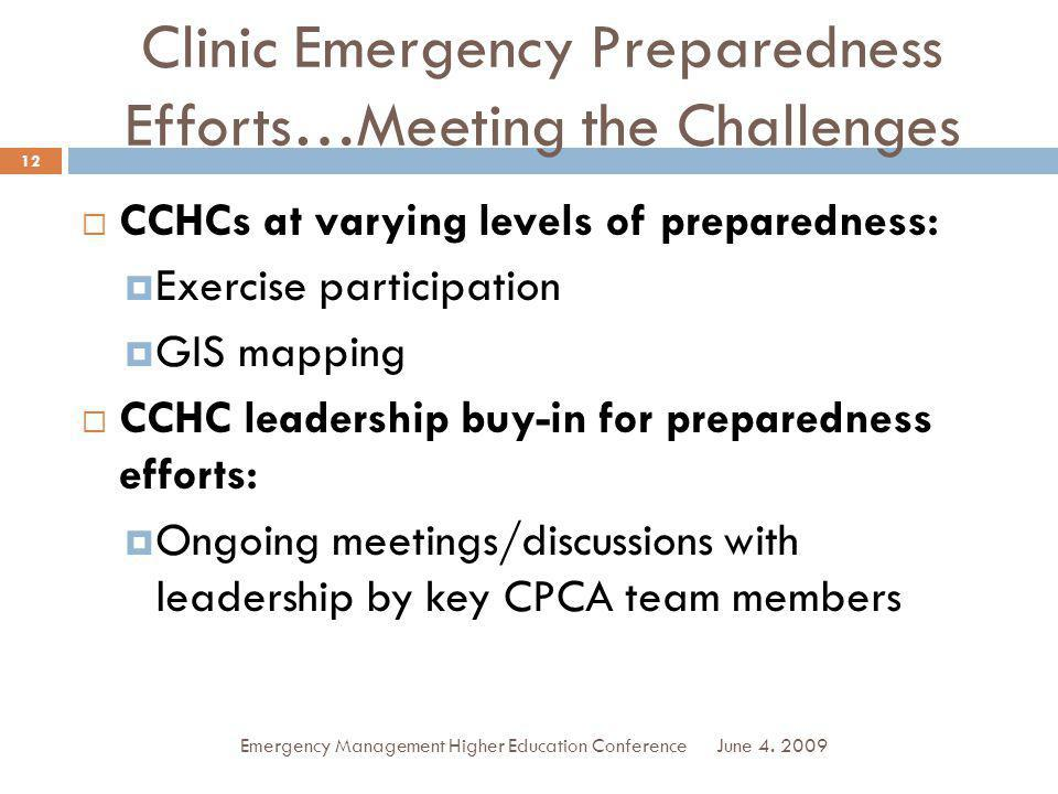 Clinic Emergency Preparedness Efforts…Meeting the Challenges CCHCs at varying levels of preparedness: Exercise participation GIS mapping CCHC leadership buy-in for preparedness efforts: Ongoing meetings/discussions with leadership by key CPCA team members June 4.