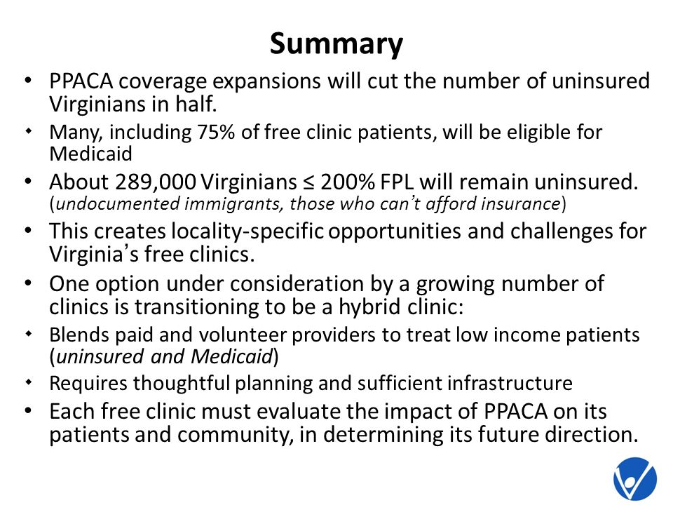 Summary PPACA coverage expansions will cut the number of uninsured Virginians in half.