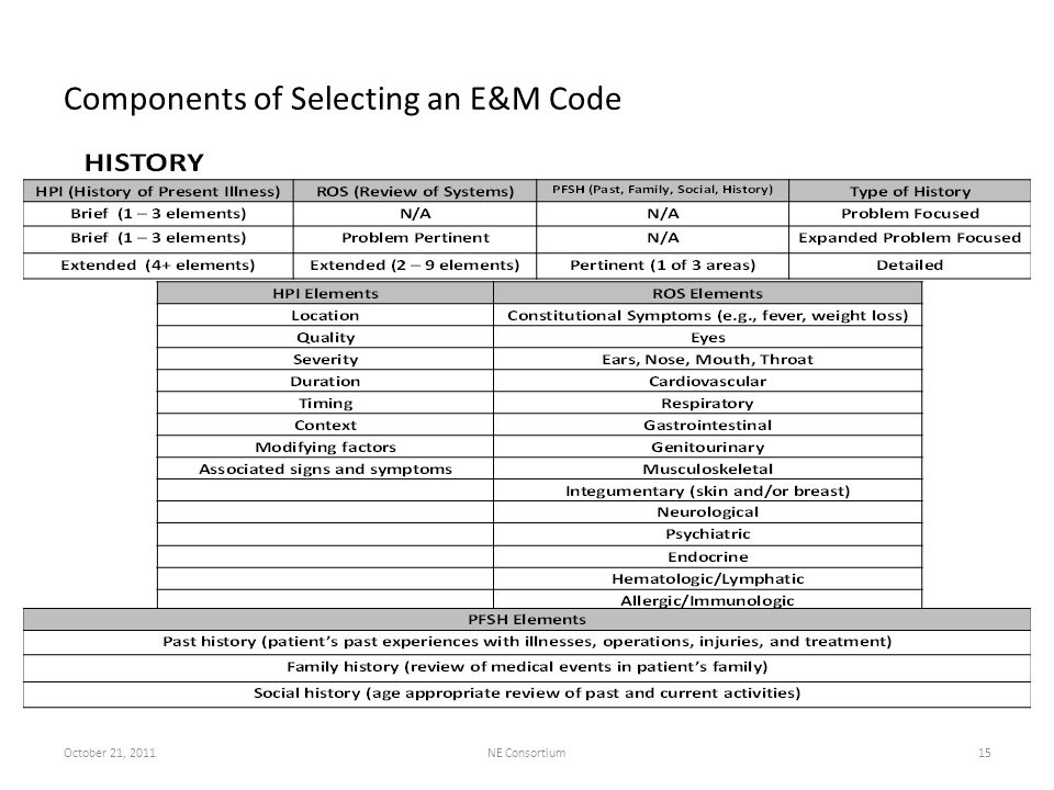 Components of Selecting an E&M Code October 21, 2011NE Consortium15