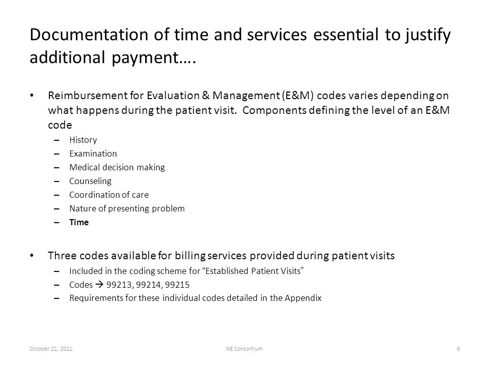 Documentation of time and services essential to justify additional payment…. Reimbursement for Evaluation & Management (E&M) codes varies depending on