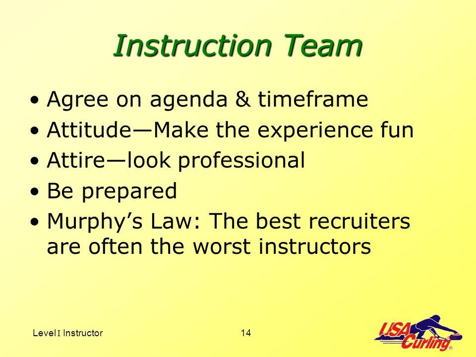 Level I Instructor14 Instruction Team Agree on agenda & timeframe AttitudeMake the experience fun Attirelook professional Be prepared Murphys Law: The
