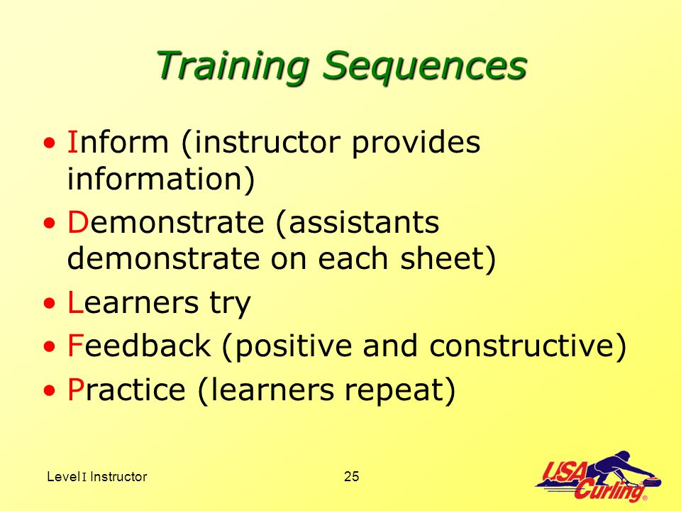 Level I Instructor25 Training Sequences Inform (instructor provides information) Demonstrate (assistants demonstrate on each sheet) Learners try Feedb