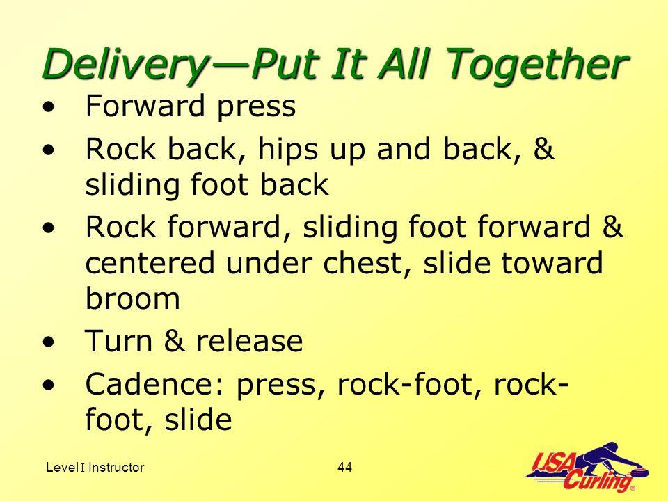 Level I Instructor44 DeliveryPut It All Together Forward press Rock back, hips up and back, & sliding foot back Rock forward, sliding foot forward & c
