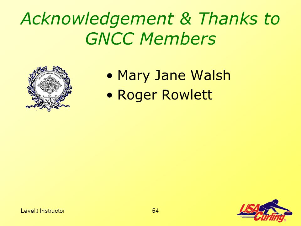 Level I Instructor54 Acknowledgement & Thanks to GNCC Members Mary Jane Walsh Roger Rowlett