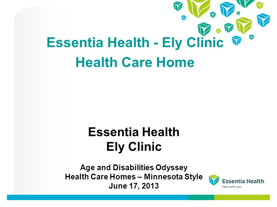 Essentia Health Ely Clinic Age and Disabilities Odyssey Health Care Homes – Minnesota Style June 17, 2013 Essentia Health - Ely Clinic Health Care Home