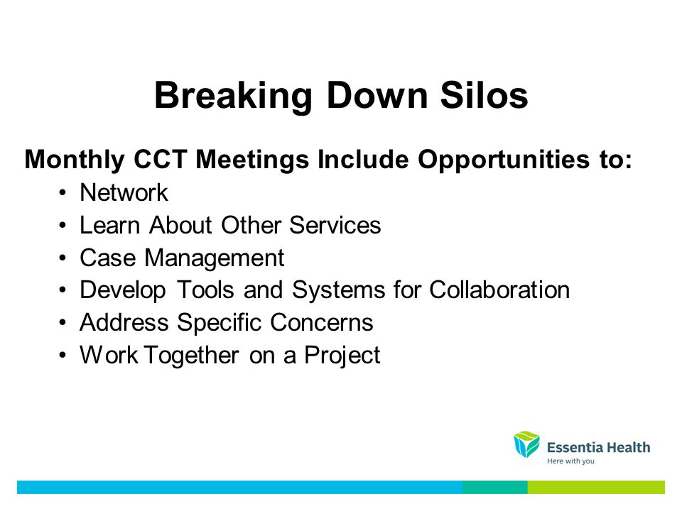 Breaking Down Silos Monthly CCT Meetings Include Opportunities to: Network Learn About Other Services Case Management Develop Tools and Systems for Collaboration Address Specific Concerns Work Together on a Project