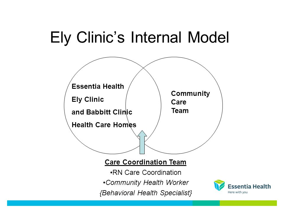Ely Clinics Internal Model Essentia Health Ely Clinic and Babbitt Clinic Health Care Homes Community Care Team Care Coordination Team RN Care Coordination Community Health Worker {Behavioral Health Specialist}