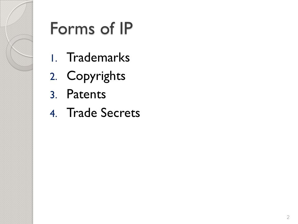 Forms of IP 1. Trademarks 2. Copyrights 3. Patents 4. Trade Secrets 2