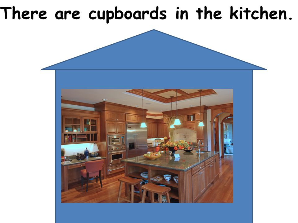 There are cupboards in the kitchen.