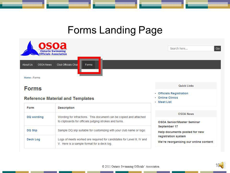 © 2011 Ontario Swimming Officials Association Forms Landing Page 101