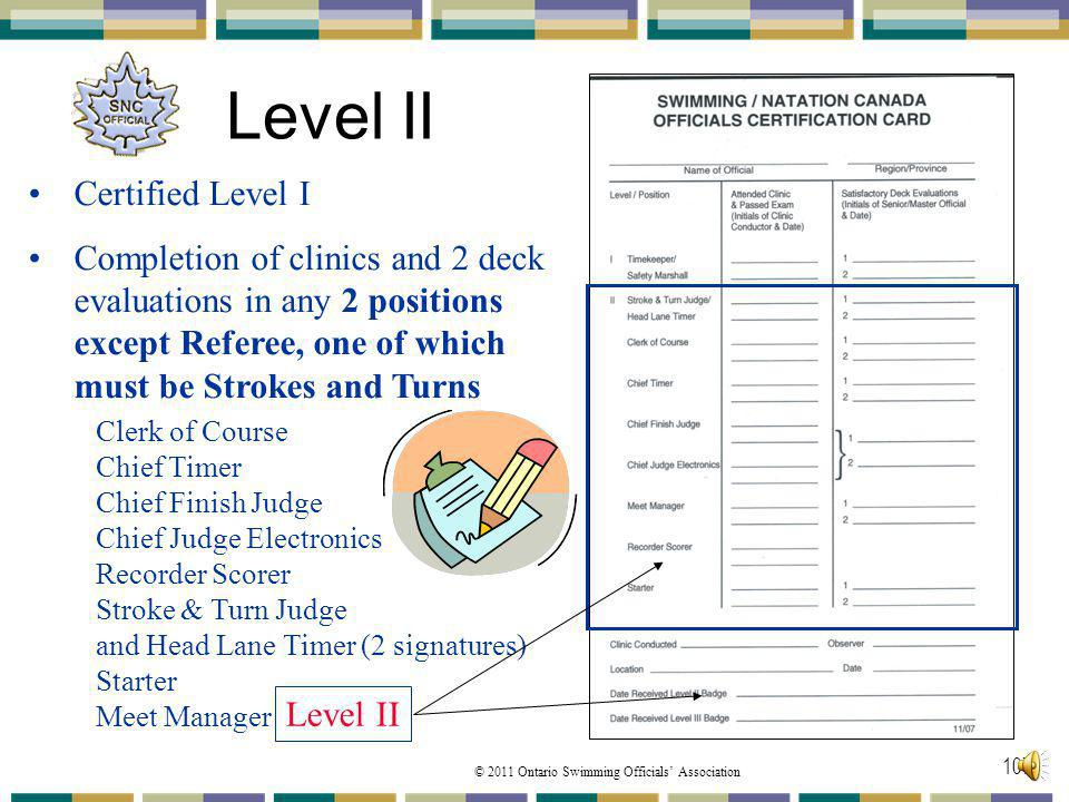 © 2011 Ontario Swimming Officials Association 107 Level II Certified Level I Completion of clinics and 2 deck evaluations in any 2 positions except Re
