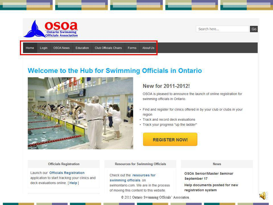 © 2011 Ontario Swimming Officials Association 12