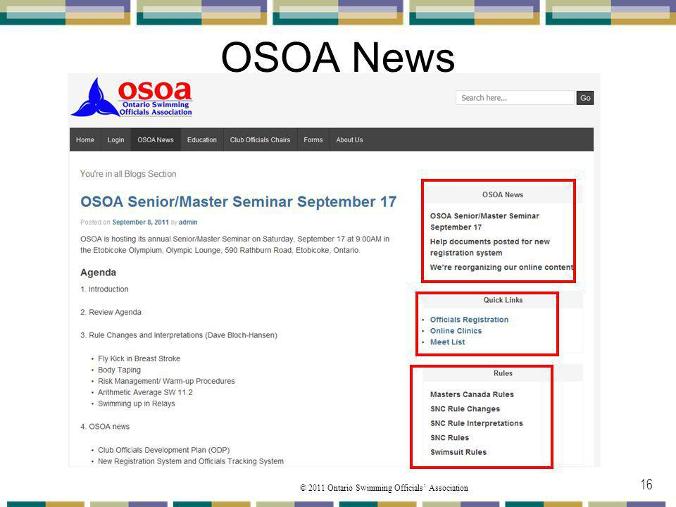 © 2011 Ontario Swimming Officials Association OSOA News 16