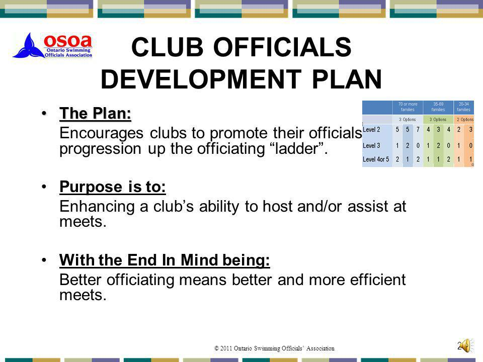 © 2011 Ontario Swimming Officials Association 20 CLUB OFFICIALS DEVELOPMENT PLAN The Plan:The Plan: Encourages clubs to promote their officials progre
