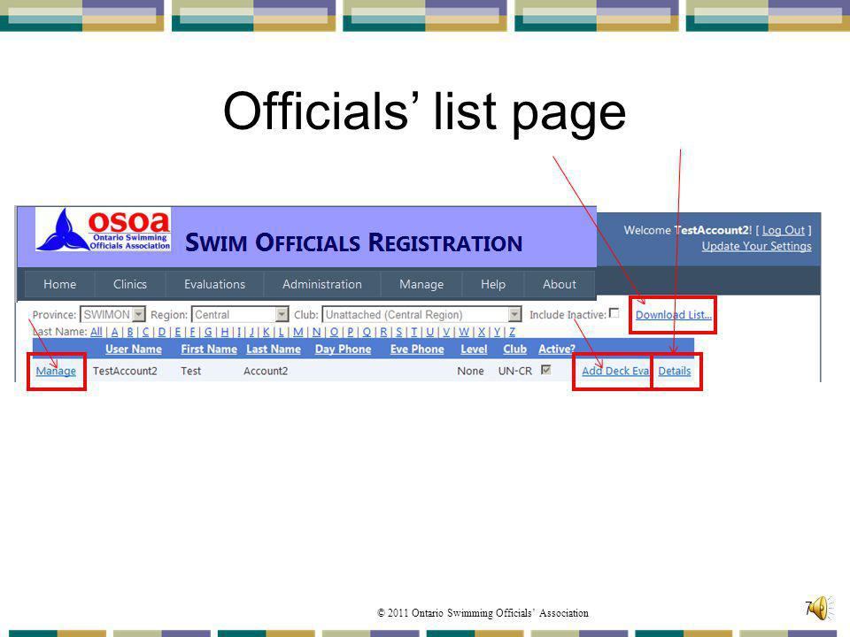 © 2011 Ontario Swimming Officials Association Officials list page 74