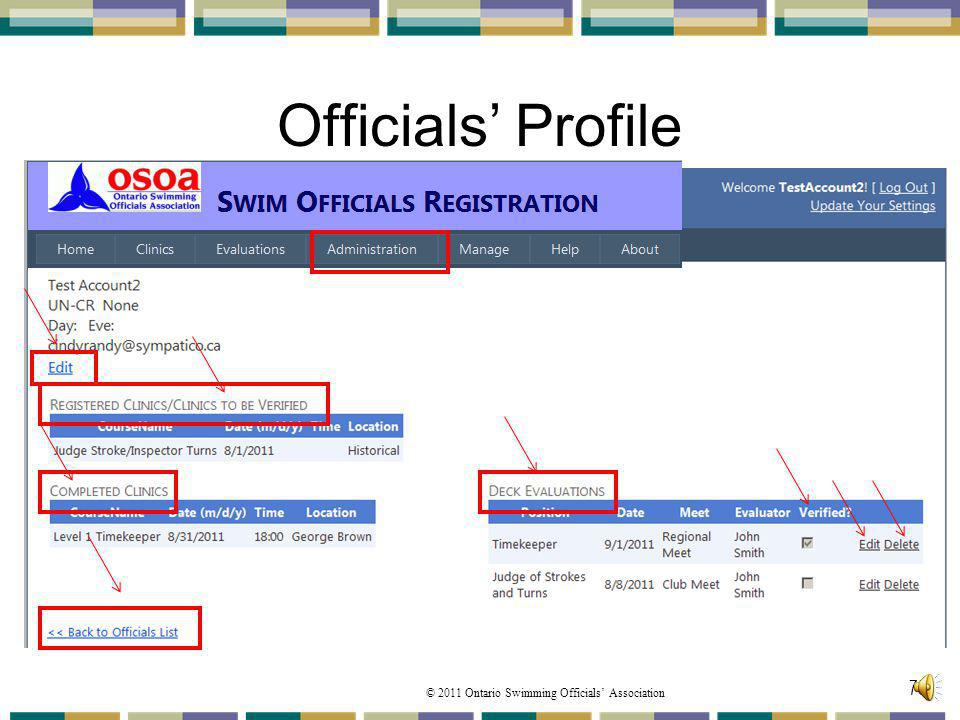 © 2011 Ontario Swimming Officials Association Officials Profile 75