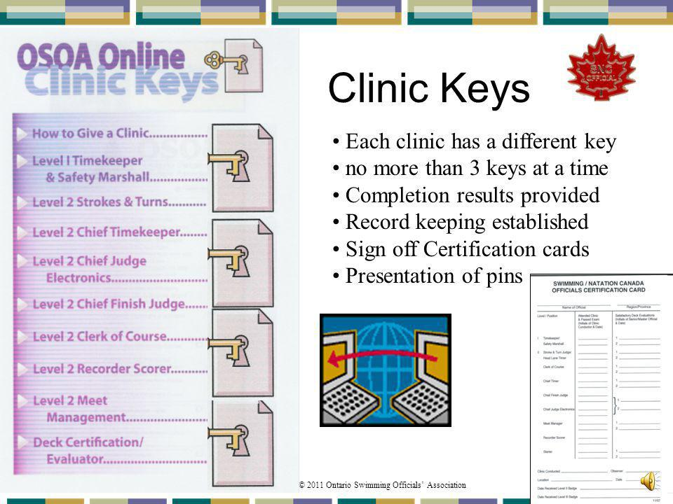 © 2011 Ontario Swimming Officials Association 94 Clinic Keys Each clinic has a different key no more than 3 keys at a time Completion results provided Record keeping established Sign off Certification cards Presentation of pins
