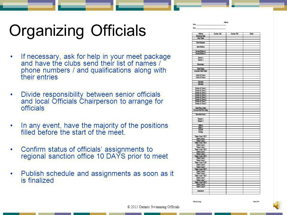© 2011 Ontario Swimming Officials Association 98 Organizing Officials If necessary, ask for help in your meet package and have the clubs send their li