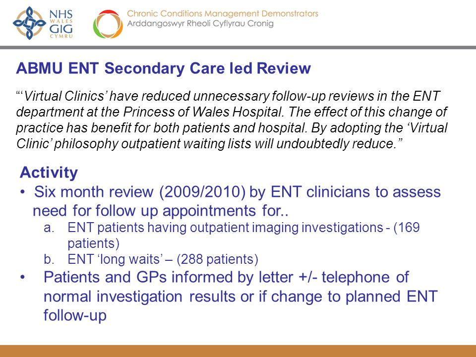 ABMU ENT Secondary Care led Review Virtual Clinics have reduced unnecessary follow-up reviews in the ENT department at the Princess of Wales Hospital.