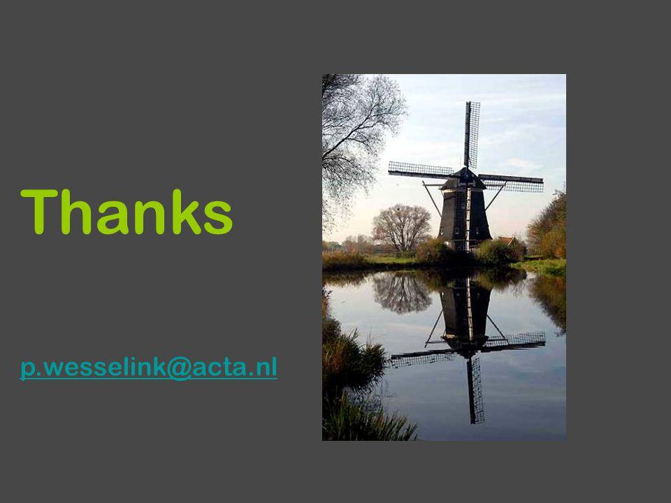 Thanks p.wesselink@acta.nl