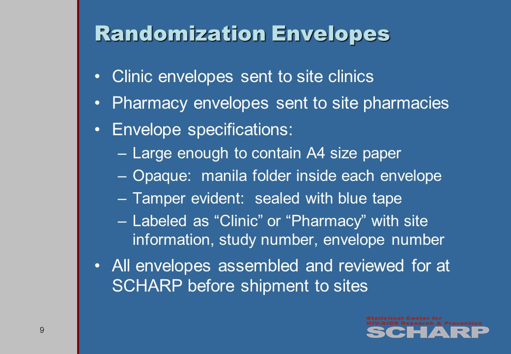 10 Clinic Randomization Envelopes Maintained by clinic staff CLINIC MTN 003-Randomization Envelope DAIDS Site ID: 30302 CRS Name: R.K.
