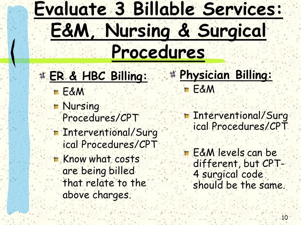10 Evaluate 3 Billable Services: E&M, Nursing & Surgical Procedures ER & HBC Billing: E&M Nursing Procedures/CPT Interventional/Surg ical Procedures/C