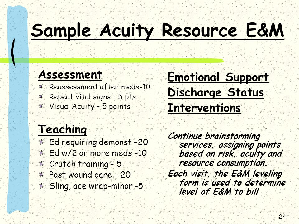 24 Sample Acuity Resource E&M Assessment Reassessment after meds-10 Repeat vital signs – 5 pts Visual Acuity – 5 points Teaching Ed requiring demonst