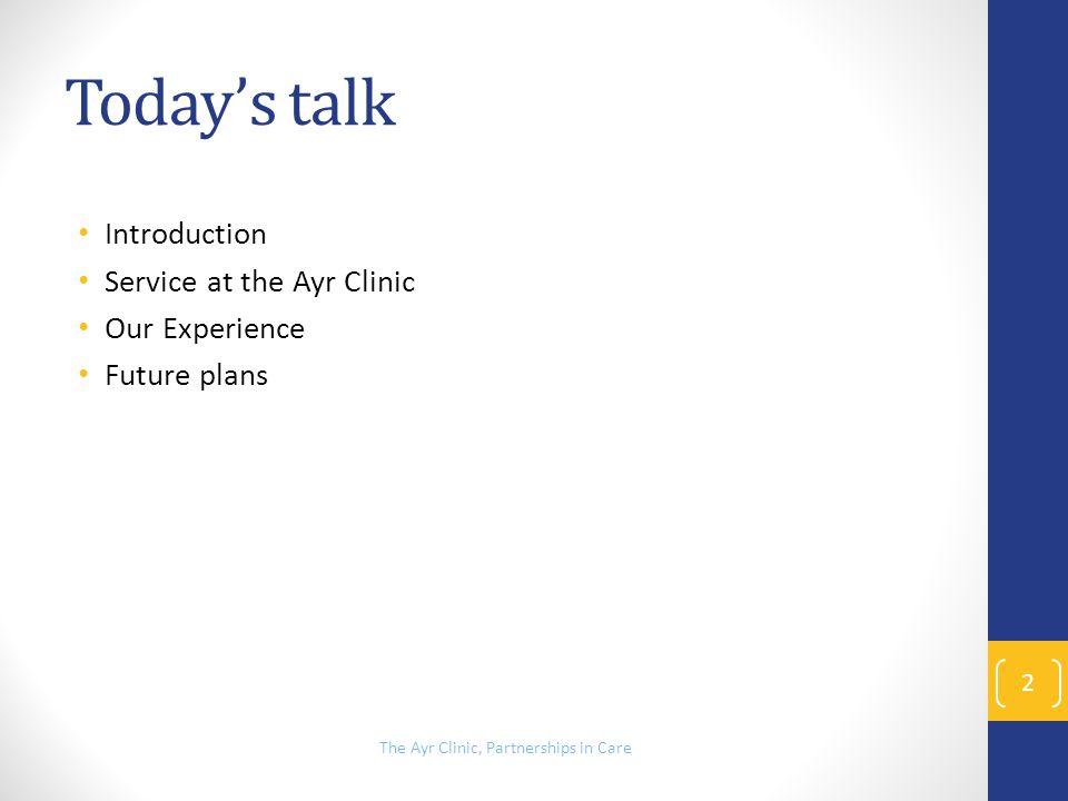 Ward Bingo! 13 The Ayr Clinic, Partnerships in Care