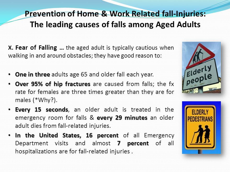 Prevention of Home & Work Related fall-Injuries: The leading causes of falls among Aged Adults X.
