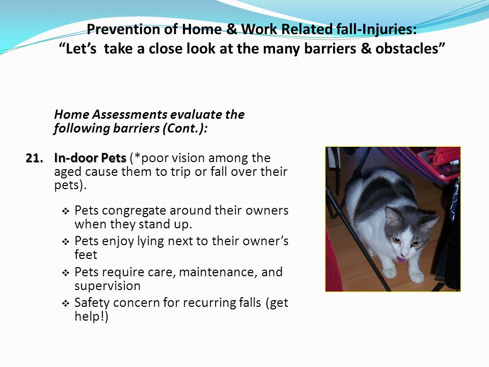 Prevention of Home & Work Related fall-Injuries: Lets take a close look at the many barriers & obstacles Home Assessments evaluate the following barriers (Cont.): 21.
