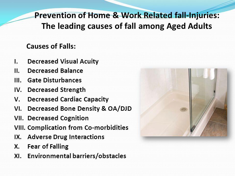 Causes of Falls: I.Decreased Visual Acuity II. Decreased Balance III.