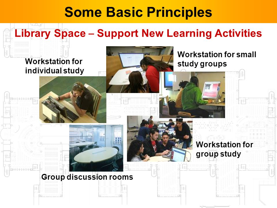 10 Workstation for individual study Workstation for small study groups Workstation for group study Library Space – Support New Learning Activities Group discussion rooms Some Basic Principles